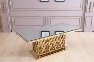 Luxury Middle East Golden Rectangle Tempered Glass Dining Table pictures & photos
