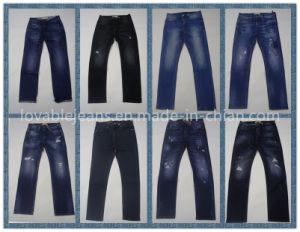 10.3oz Blue & Yellow Crop Jeans (HYQ89TBP) pictures & photos