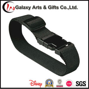 Customized Logo Polyester Adjustable Black Buckle Strap for Luggage