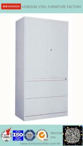 Steel High Storage Cabinet Office Furniture with Upper Double Sliding Steel Framed Glass Doors and Lower Double Swinging Doors Cabinet /File Cabinet pictures & photos