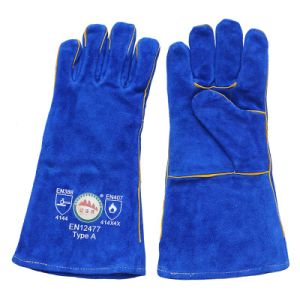 Blue Heavey Duty Cowhide Split Leather Welding Gloves with Kevlar Thread pictures & photos