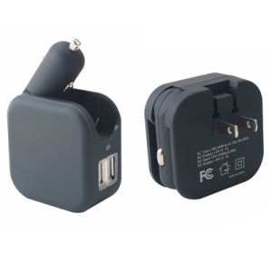 Dual USB Output Cigar Lighter Car Charger 100V-240V Wall USB Charger with Us Plug pictures & photos