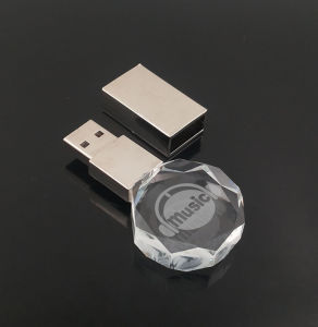 LED Light Polygon Crystal USB Pen Drive with 3D Logo Inside 2GB 4GB 8GB 16GB pictures & photos