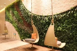 New Design Landscape Design Orange Leaf Fake Grass Wall Artificial Green Wall for Decoration pictures & photos