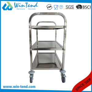Stainless Steel Middle Size 3 Tiers Factory Workshop Hand Push Moving Tool Trolley with Square Tube pictures & photos