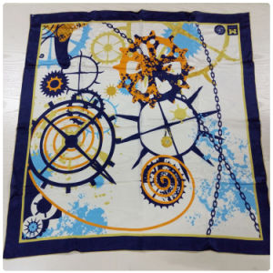 Chain Gear Digital Printing 100% Silk Satin Scarves
