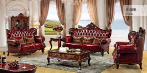 Antique Furniture Living Room Sofa with Genuine Leather Sofa Furniture pictures & photos