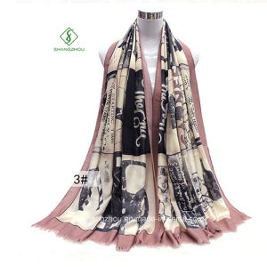 2017 Fashion Lady Scarf Shawl with English News Paper Printed pictures & photos