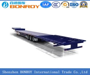 50ton High-Bed 3 Axle 40FT Container Flatbed Truck Semi Trailer pictures & photos