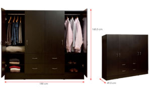 MDF Laminated Wooden Wardrobe (HX-DR339) pictures & photos