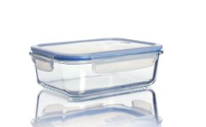 Wholesale Rectangle Clear Borosilicate Glass Bowl with Plastic Lid Microwave Oven Used