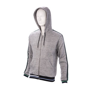 New Design Zip up Grey Hoodie with Green Piping pictures & photos