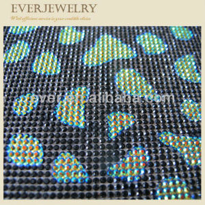 New Design Fashion Iron on Beaded Animal Print Rhinestone Mesh pictures & photos