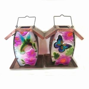 Colorful Stained Glass Garden Decoration Metal Solar Lighted Birdfeeder pictures & photos