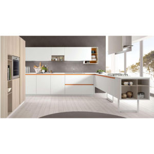 Customized Modern White Lacquer Linear Plywood Kitchen Cabinets pictures & photos