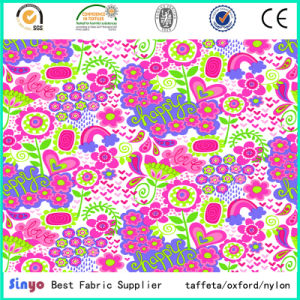 PVC Coated Polyester Flower Heat Flower Printed Fabric pictures & photos
