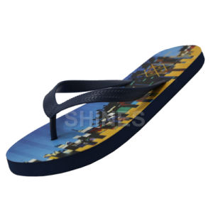 Navy PE Flip Flop with Displacement Diagram Printing Insole for Men