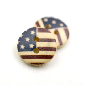 Printed American Flag Design Wooden Shirt Button with Two Holes pictures & photos