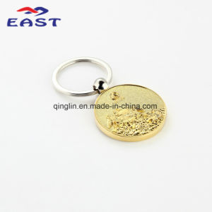 Luxury Circle Embossed Gold Metal Key Chain for Souvenir pictures & photos
