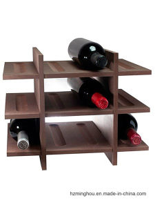 Antique Simple Design Natural Wood Wine Display Rack pictures & photos