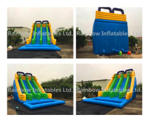 Rainbow Inflatables Water Slide, Inflatables Double Slide, Slide with Pool Use Velcro pictures & photos