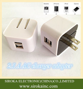 Hot Selling Us Folding Plug Dual USB Wireless Mobile Charger with 5V 2A for iPhone Samsung Table PC pictures & photos