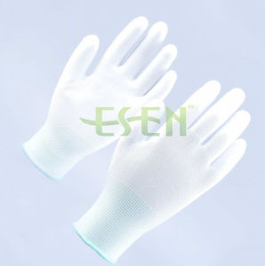 Elastic Knitted Glove with White PU Smooth Coating on Palm pictures & photos