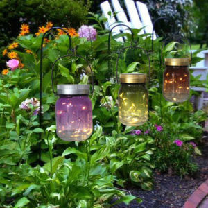 Coffee Color Painted Glass Material Mason Jar Solar Lighting for Outdoor Decoration pictures & photos