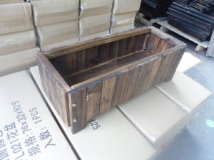Burnt Cedar Wood Rectangle Patio Garden Planter Bed Box pictures & photos