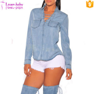 Ladies Fashion Denim Long Sleeves Top L527 pictures & photos