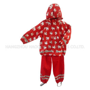 Red Hooded Cartoon PU Rain Jacket/Raincoat pictures & photos