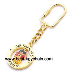 China Spinner Souvenir Germany Map Gift Gold Metal Key Chain - Germany map key