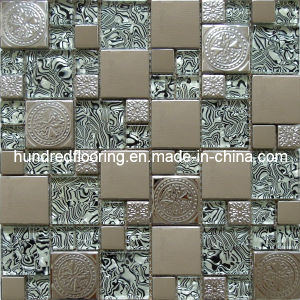 Glass Mix Stainless Steel Metal Mosaic Tile (SM208) pictures & photos