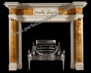 Stone Fireplace with Marble Mantel (QY-LS374) pictures & photos