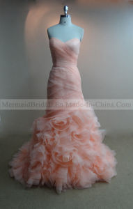 Mermaid Blush Organza Wedding Dress