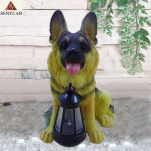 Resin Dog With Solar Lantern (SR701030)