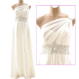 One Shoulder Beaded White Chiffon Empire Waist Maternity / Pregnant Wedding Dress (MN063)