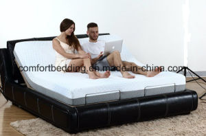 Real Leather Surrounding Headboard Home Furniture Massage Adjustable Bed with Memory Foam Mattress Bed pictures & photos