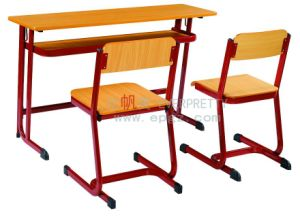 School Furniture Wooden Double Student Desk and Chairs pictures & photos