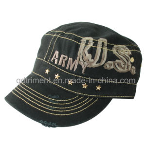 Grinding Washed Rhinestuds Embroidery Leisure Army Military Hat (TRM004) pictures & photos