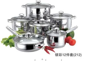 12PCS Stainless Steel Microwave Cookware Set With Stainless Steel Handle pictures & photos