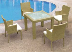 5 PCS Set Square Dining Set Rattan Table and Chairs Garden Furniture pictures & photos
