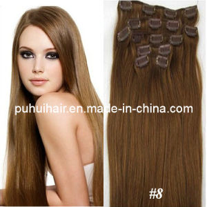 100% Indian Remy Human Hair Extension/Clips on/in Hair Extension (CH-003)