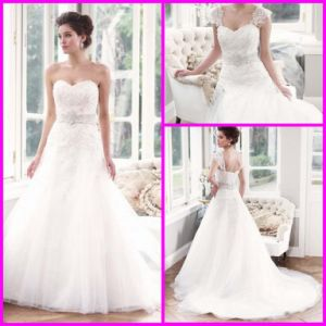 Lace Wedding Dress Dismountable Cap Sleeves Custom Wedding Ball Gown Beads Sash Lace Tulle Sweetheart Wedding Gown H1315 pictures & photos