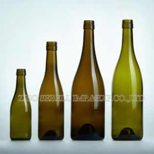 750ml Glass Wine Bottle for Burgundy in Antique Green Color (NA-016) pictures & photos
