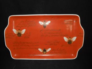 Hand Painted Ceramic Rectangular Tray with Ears (CR3798)