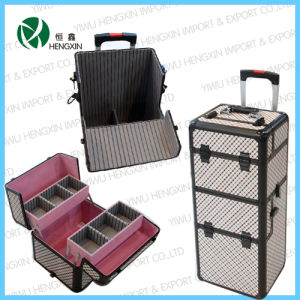 Beauty Trolley Makeup PVC Rolling Cosmetic Case (HX-P2607) pictures & photos