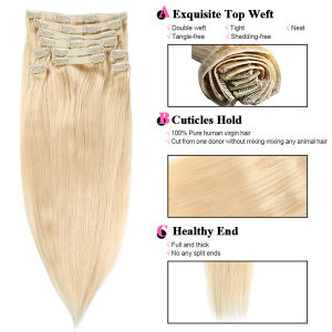 Double Drawn Most Popular Blonde Thick/Super Deluxe 120-260gram/Set Clip on Hair Extension pictures & photos