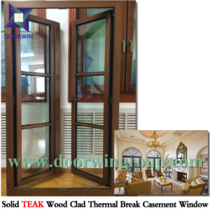 Oak Wood Casement Window with Aluminum Cladding, Germany Origin Brand Roto/Siegenia Handle for Smooth Open-Close pictures & photos
