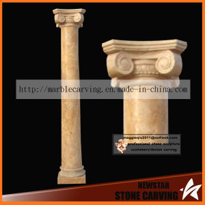 Simple Style Ionic Order Gold Desert Marble Pillar Nsp040 pictures & photos